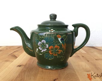 Vintage Green Japanese Ceramic Teapot with Orange and White Floral Design