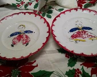 Homer Laughlin Plates / Hudson Plate / Boy and Girl Plate / Vintage Plates / Retro Plates / Display Plates