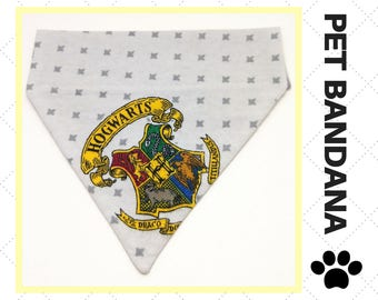 Hogwarts Crest Pet Bandana - Over the Collar - Custom - Harry Potter