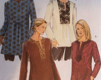 Butterick B4856 Misses Loose fitting tunic top. Sleeve has variations.  Misses size xsmall 4-6,small 8-10 ,medium 12-14