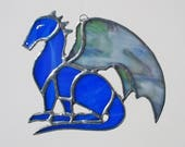 Blue Dragon Stained Glass Suncatcher or Christmas Holidays Ornament