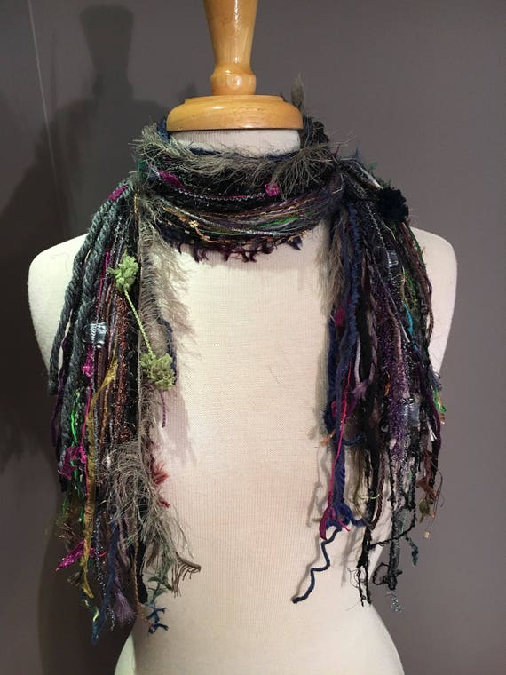 Fringie in Orchard, green purple taupe scarf, handmade fringe scarf with knots, chunky yarn scarf, Funky Scarf, faux fur fashion, short