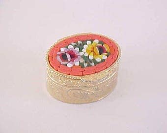 Italy Mosaic Box Small Signed Floral