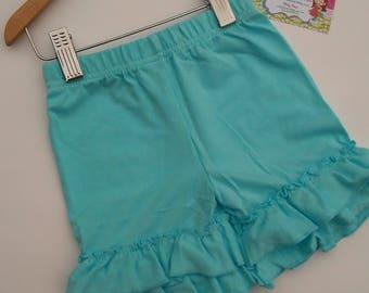 Ruffle Shorts, Ruffle Shorties, Turquoise Ruffle Shorts, Knit Ruffle Shorts