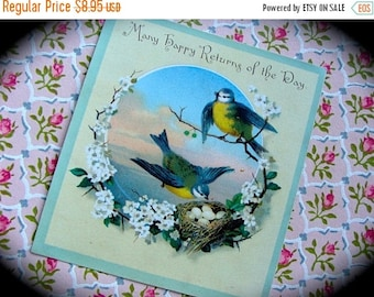 ONSALE Antique Christmas Chippers Adorable Birds Stunning Trade Lithograph Trading Card N030