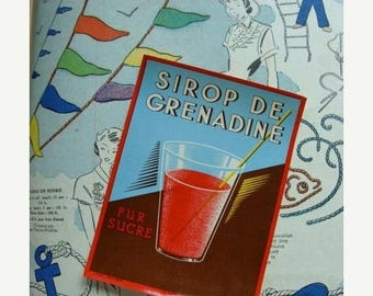 ONSALE 3 Awesome Antique French Labels - Sirop de Grenadine Labels - Red Drink
