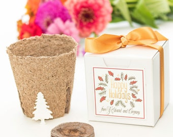 "Mini ""Grow A Tree"" Garden Gift Set Holiday Party Favors, Unique Personalized Gift Idea ""Happy Holidays"" Gift Box, Bulk, Quantity Discounts"