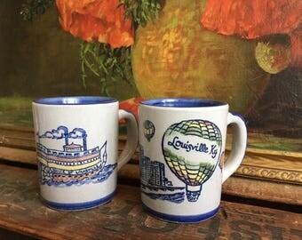 Louisville Stoneware Set of 2 Mugs Vintage Coffee Cups Ceramic Souvenir Made in Kentucky USA