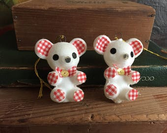 Mouse Ornament Set of 2 Christmas Decor Holiday White Mice Red Gingham Country Christmas Decor