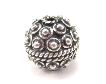 Large Bali Bead Sterling Silver 12mm Round Focal Bead Oxidized Bumps Rope Pattern