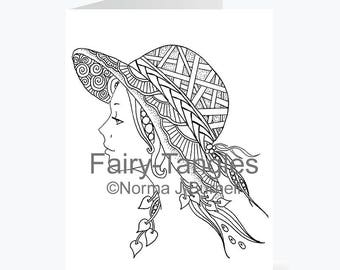 Printable Fairy Tangles Greeting Cards to Color by Norma J Burnell 5x7 fairy with hat Fairy Card for Coloring Card Making & Adult Coloring