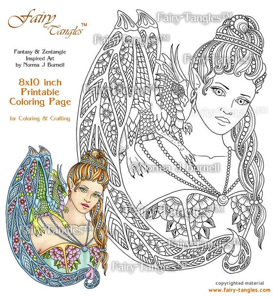 Giselle Her Dragon Rainbow Fairy Tangles Printable Coloring Book Pages Norma J Burnell Digital Sheets For Adults Fairies Dragons