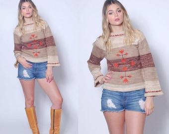 Vintage 70s Hippie Sweater FOLK Sweater Bell Sleeve Sweater SPACE DYE Boho Pull Over Sweater