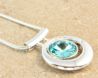 Swarovski Silver Bar Pendant Necklace with Light Turquoise Crystal Rivoli on Snake Silver Plated Chain