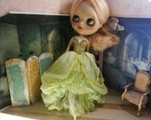 OOAK BLYTHE FAIRY Gown - Ultra Luxe Full Length Gorgeous Hand-Dyed Silk Fairy Dress -  Praying Mantis