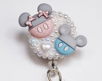 Baby Minnie And MIckey Mouse Silhouettes ID Badge Reel - Retractable ID Badge Holder - Zipperedheart