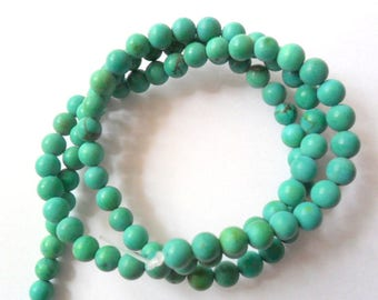 "Turquoise 14.5"" Beads Strand, 4mm Soft Matte Finished Beads"