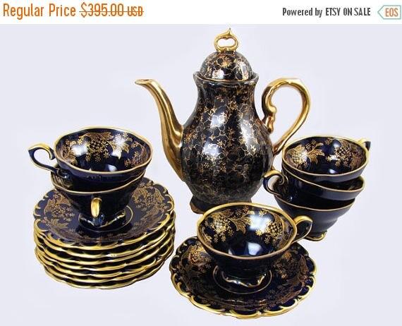 Christmas in July Sale Vintage 16 pc. Lindner Rosengold Echt Cobalt blue porcelain demitasse espresso coffee pot / tea pot / cup & saucer /