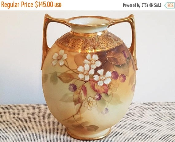 Christmas in July Sale Antique Nippon Japan hand painted porcelain ceramic vase urn with eared handles dogwood flowers