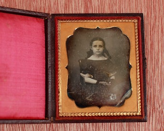 Civil War Era Daguerreotype of a Haunting Little girl in Leather Case