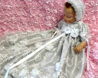 REBORN or BABY Silver Satin White 3D tulle Roses GOWN and Blanket size 0-3 month