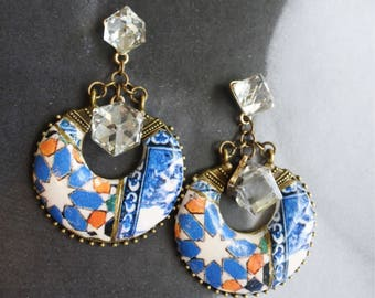 Earrings Portugal 16th Century Hispano-Arab Azulejo Arista Tile Monastery Santa Clara Coimbra 1314  Zellige Sintra  Japan Igezara Imban