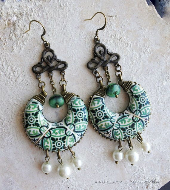 Earrings Tile Portugal Azulejo Chandelier  Ilhavo, SAGE Green Portuguese REVERSIBLE Pearls Gift Box Included
