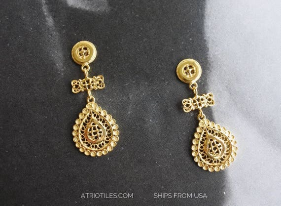 Earrings Filigree Silver Portugal Tile Azulejo 24k Gold Bath Posts Made in Portugal SHIPS FroM USA