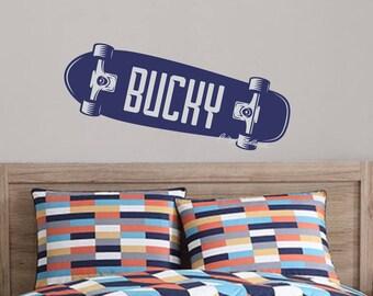 Skateboard decal, boy name wall decal, vinyl sticker, monogram, teen boy decor, skateboarder, bedroom wall art