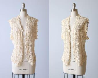 Vintage Vest Crochet Cotton Boho Peasant / Boho Top / Lace Back