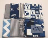 SUMMER SALE - Brigham Young University - Half Yard Bundle (8) - cotton fabric -  4 Yards Total - BYU