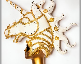 Golden Mirage… Glittery White Horse Headdress With Gold Rhinestones and Flowers