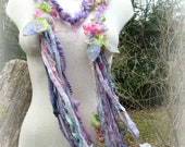 scarf fantasy luxury fiber art yarn braid lariat garland long scarf - lavender rose fantasy garden