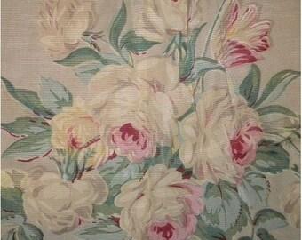 Vintage Barkcloth Fabric Roses Boudoir Faille Curtain Shabby