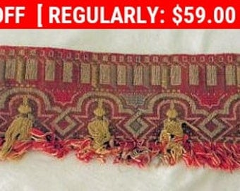 Antique Tapestry Arts and Crafts Fabric Border Gypsy Chic