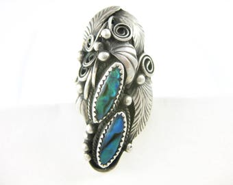 Size 11 3/4 Vintage Large Well Crafted Sterling Silver Paua Shell Ring