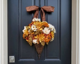 FALL Bouquet, Fall Floral Arrangement, Fall Bucket Flowers, Fall Wall Pocket, Fall Wreath Alternative, Gold Fall Wreaths for Door