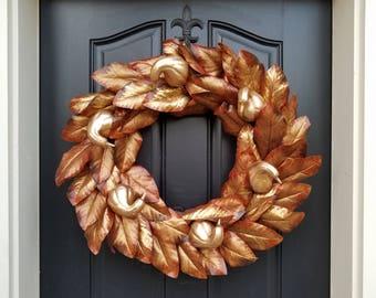 XL Fall Wreath, Thanksgiving Wreath, Front Door Wreath, Holiday Home Decor, Magnolia Gourd Wreath, AUTUMN Gourd Wreath, Fall Home Decor