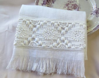 """Linen Handtowel with Vintage Lace Drawnwork Embroidery and Fringe 26"""" x 17.5"""" OOAK"""