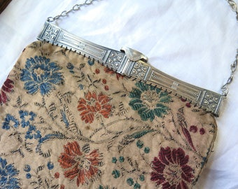 Antique Tapestry Purse/Boho Bag Silver Tone Metal Engraved Frame Chain Handle