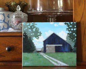 Barn in Blue-Folk Art on Canvas