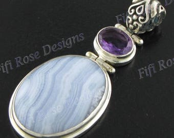 """2 3/8"""" 4ct Amethyst Agate 925 Sterling Silver Pendant"""