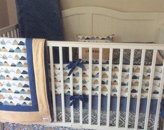 Baby Bedding Crib Set Denim Blue and Tan Tribal Aztec Mountains