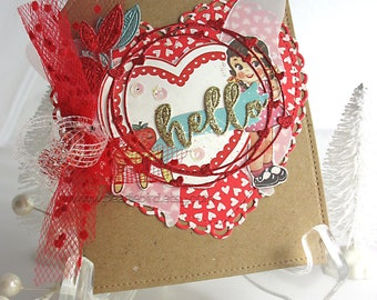 Hello Heart Shabby Chic Greeting Card~Cottage Style~heart~kraft~red~teal~cream~butterfly~handmade card