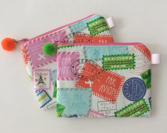 Travel Zipper Pouch, Makeup Pouch, Earbud Pouch, So many uses and the cutest little Pom Pom