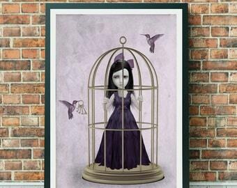 Hummingbird Print - Girl & Hummingbirds - Lowbrow Art - Lowbrow - Wall Decor - Salvation