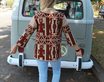 Vintage Women's Boho Knit Cardigan Sweater
