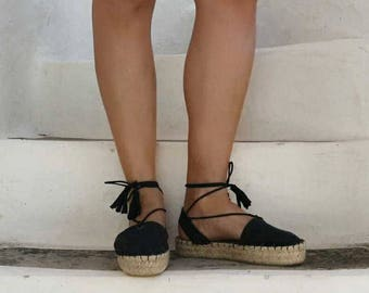 Black Espadrille Sandals. Minimal Lace Up All Black Espadrilles with Tassels. Women's Sandals. Greek Sandals.Summer Shoes.