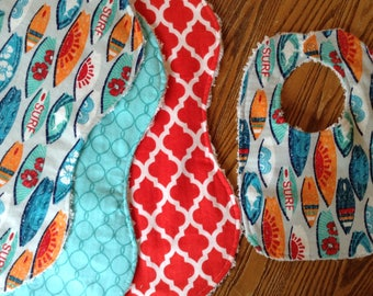 Surfing! Three Flannel Burp Cloths, with Matching Bib, Chenille Back, Bright, ready to ship