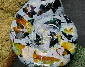 """Lampwork Beads SRA Handmade Glass Ammonite """"Jet"""" Sandblasted Large Focal Bead ~ Create Unique Jewellery"""